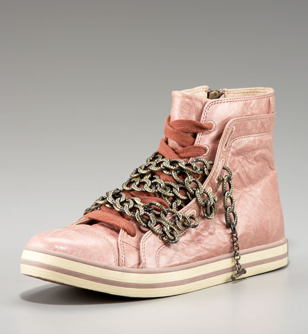 Blush Pink UES Chain High-Top Sneakers