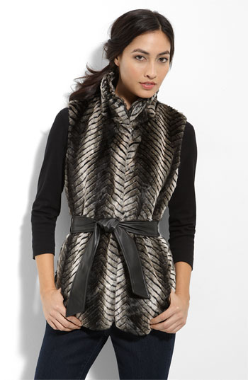 Via Spiga Quilted Faux Fur Vest