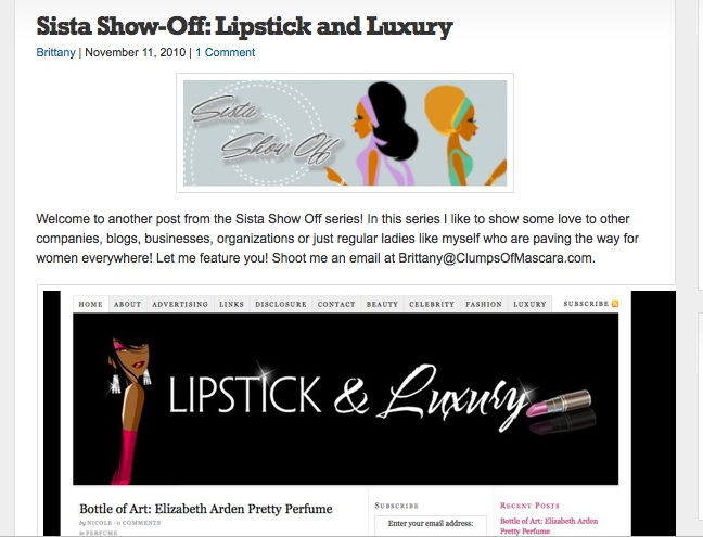 Lipstick and Luxury sista show off series on clumps of mascara