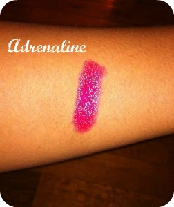 Urban Decay super-saturated high gloss lip color adrenaline swatch