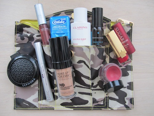 Beauty Editor Jennifer Goldstein of Prevention Magazine, inside her makeup bag