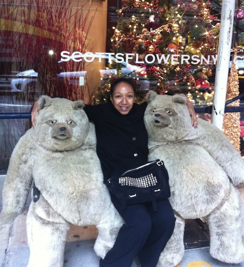 Giant life size teddy bears in front of Scotts Flowers in New York City.