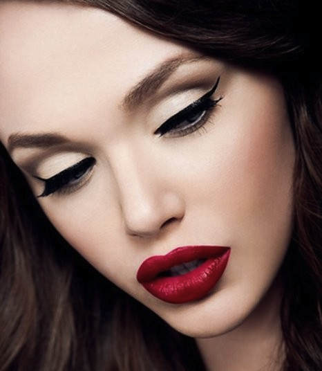 Fall Winter 2011 cat eye and red lip makeup trend