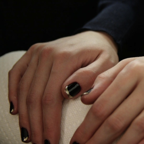 Badgley Mischka Fall 2012, Deborah provide luxury manicures with Dark Side of the Moon, a dark aubergine and French tips with Nefertiti, a frosted metallic gold.