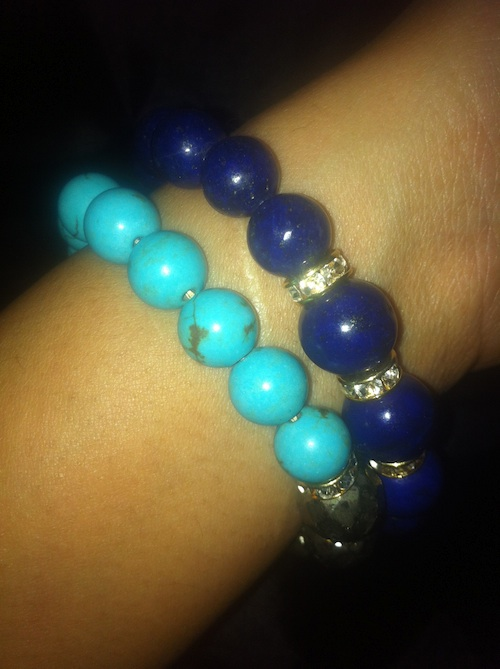 Very Me Lapis & Gold Spacer Bead Stretch Bracelet and Very Me Turquoise, Pyrite, & Crystal Stretch Bracelet