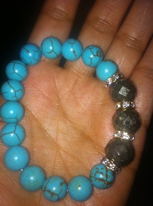 Very Me Turquoise Pyrite & Crystal Stretch Bracelet