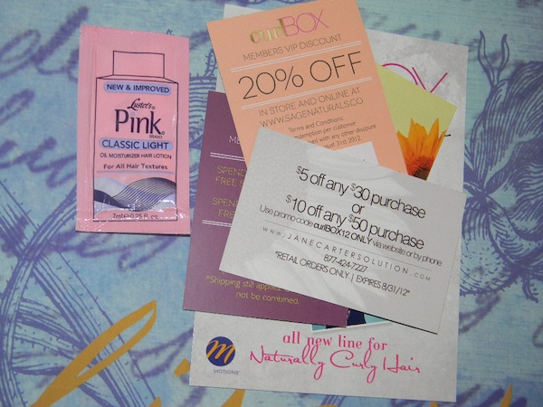 July  2012 curlbox review, Luster pink oil moisturizer and coupons