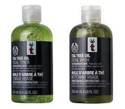 The Body Shop skincare, tea tree oil cleanser and toner