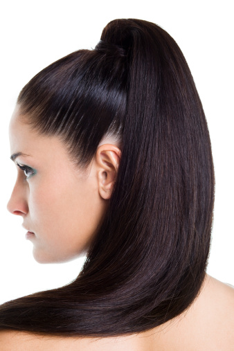 Close-up of woman's high ponytail