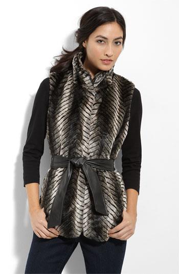 Via Spiga Quilted Faux Fur Vest