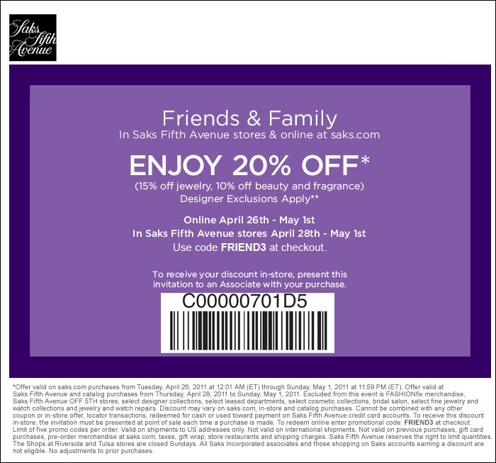 Saks Fifth Avenue Friends and Family event 2011