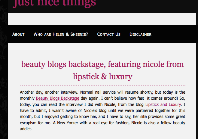 Just Nice Things interviews Nicole from Lipstick and Luxury