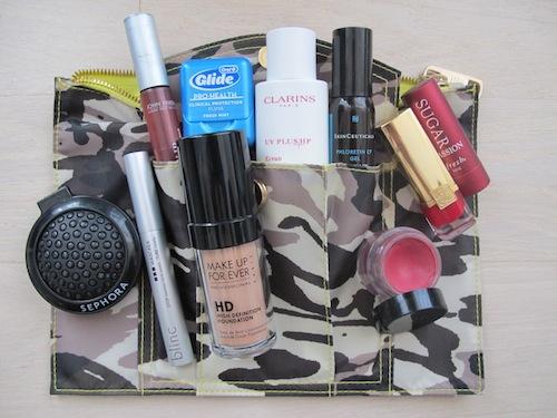 Beauty Editor Jennifer Goldstein of Prevention Magazine, inside her makeup bag
