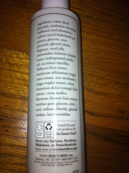 Burt's Bees Radiance Facial Cleanser Ingredients