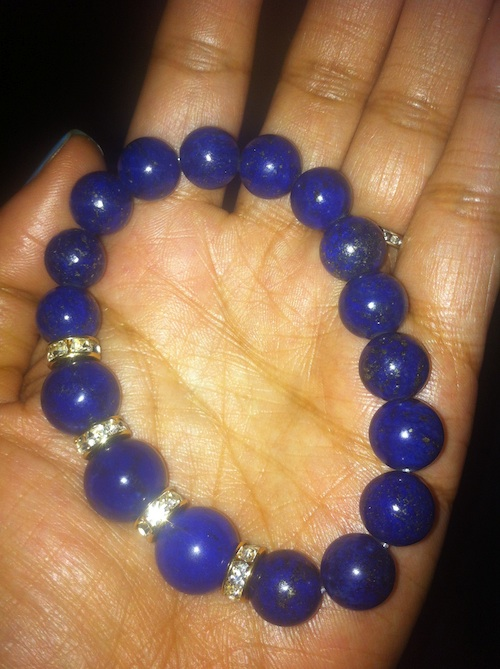 Very Me Lapis & Gold Spacer Bead Stretch bracelet