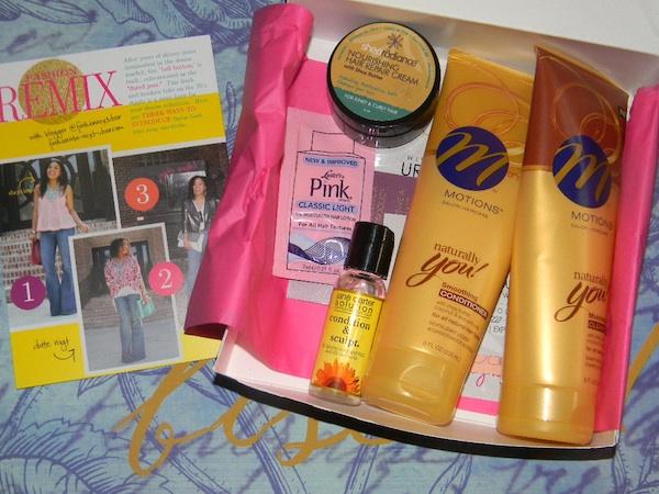 Contents inside of July 2012 curlbox beauty subscription program